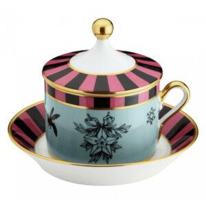Tazza tè con piatto e coperchio
